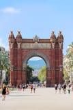 凯旋门在巴塞罗那 免版税库存图片
