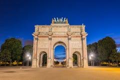 凯旋门在Tuileries庭院的du Carrousel在巴黎, Fran 免版税图库摄影