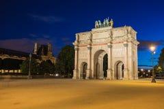 凯旋门在Tuileries庭院的du Carrousel在巴黎, Fran 库存图片