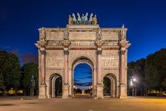 凯旋门在Tuileries庭院的du Carrousel,巴黎 免版税库存照片