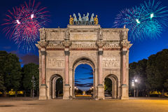 凯旋门在Tuileries庭院的du Carrousel,巴黎 图库摄影
