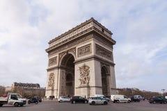 凯旋门,胜利曲拱,著名旅游业地标在巴黎法国 库存图片