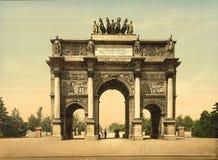 凯旋门, du Carrousel,巴黎,法国 库存图片