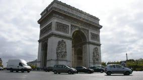 凯旋门de l ` Etoile或凯旋门星在地方夏尔・戴高乐在巴黎,法国 股票录像