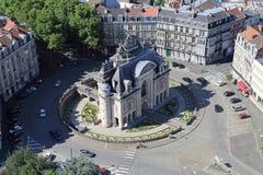 凯旋门Porte de巴黎在里尔,法国 免版税库存照片