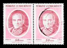 凯末尔阿塔图尔克(1881-1938), serie,大约1996年 免版税库存照片