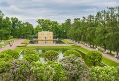 24凯瑟琳中心系列前面的皇家km贵族公园彼得斯堡住宅俄国selo南st tsarskoye访问 免版税图库摄影