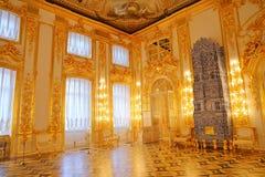 凯瑟琳宫殿内部一个洛可可式的宫殿在Tsarskoye Selo圣彼得堡 免版税图库摄影