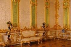 凯瑟琳宫殿内部一个洛可可式的宫殿在Tsarskoye Selo圣彼得堡 库存照片