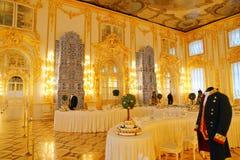 凯瑟琳宫殿内部一个洛可可式的宫殿在Tsarskoye Selo圣彼得堡 库存图片