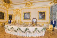 凯瑟琳宫殿内部,一个洛可可式的宫殿在Tsarskoye Selo, 库存图片