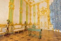 凯瑟琳宫殿内部,一个洛可可式的宫殿在Tsarskoye Selo, 免版税库存图片