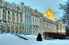 凯瑟琳宫殿在冬时的普希金,俄罗斯 图库摄影