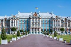 凯瑟琳宫殿在Tsarskoe Selo,圣彼德堡,俄罗斯 免版税库存图片