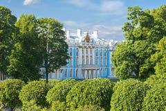 凯瑟琳宫殿在Tsarskoe Selo,圣彼德堡,俄罗斯 免版税库存照片