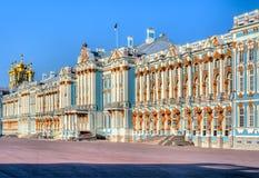 凯瑟琳宫殿在Tsarskoe Selo,普希金,圣彼得堡,俄罗斯 免版税库存照片