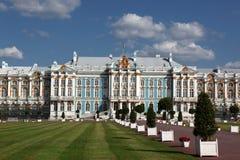 凯瑟琳宫殿在Tsarskoye Selo镇  免版税库存图片
