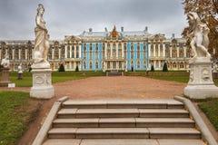 凯瑟琳宫殿在Tsarskoye Selo,圣彼得堡,俄罗斯 免版税图库摄影