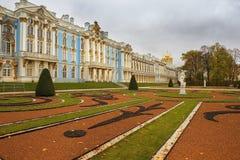 凯瑟琳宫殿在Tsarskoye Selo,圣彼得堡,俄罗斯 图库摄影