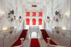 凯瑟琳宫殿的内部在St附近的Tsarskoye Selo, 免版税库存照片