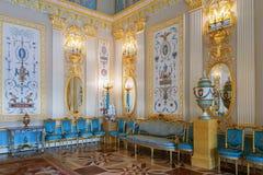 凯瑟琳宫殿的内部在Tsarskoye Selo,圣彼得 图库摄影