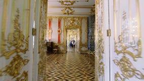 凯瑟琳宫殿的华美的房间和内部在圣彼德堡 影视素材