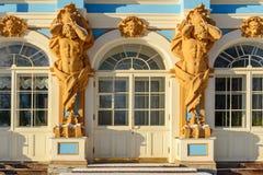 凯瑟琳宫殿细节在Tsarskoe Selo pushkin 彼得斯堡圣徒 俄国 库存图片