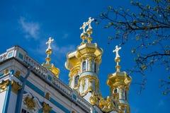 凯瑟琳宫殿被镀金的圆顶  免版税库存照片