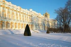 凯瑟琳宫殿雪11月早晨在Tsarskoye Selo 俄国 库存照片