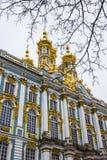 凯瑟琳` s宫殿金黄圆顶在一个冬日在普希金,圣彼得堡,俄罗斯 库存照片