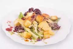 凯萨色拉用帕尔马干酪、莴苣、鲥鱼、油煎方型小面包片、烟肉和蛋黄酱 免版税图库摄影