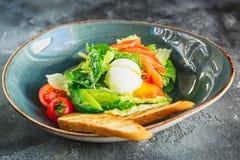 凯萨色拉用鸡蛋、三文鱼鱼、鲕梨、西红柿和烤面包 关闭视图 免版税图库摄影