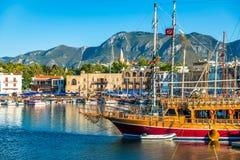 凯里尼亚港口看法  塞浦路斯 图库摄影