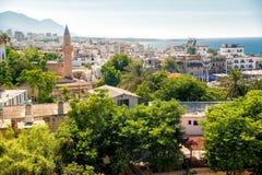 凯里尼亚老镇看法  塞浦路斯 免版税图库摄影