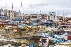 凯里尼亚Girne老港口,北赛普勒斯土耳其共和国 免版税图库摄影