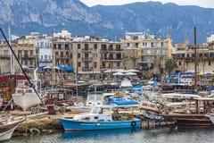 凯里尼亚Girne老港口,北赛普勒斯土耳其共和国 库存照片