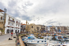 凯里尼亚Girne老港口,北赛普勒斯土耳其共和国 免版税库存照片