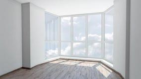 凸出的三面窗在空的屋子里有在多云天空的看法 背景板材,色度关键录影背景 股票视频