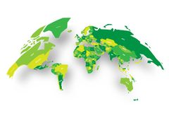 凸起在地球形状的世界绿色政治地图  3D传染媒介与被投下的阴影的例证地图 免版税图库摄影