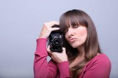 凸轮藏品照片葡萄酒妇女年轻人 免版税库存照片