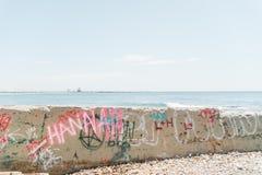 凹下去的城市街道画墙壁 免版税图库摄影