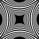 凹面长方形的黑白条纹图形 视觉容量作用 多角形几何抽象背景 免版税库存图片