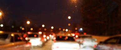 出于城市交通焦点光在城市 免版税库存照片