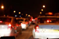 出于城市交通焦点光在城市 免版税库存图片