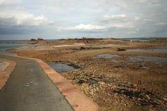 出发的码头到海岛Ile de brehat在布里坦尼 免版税库存图片