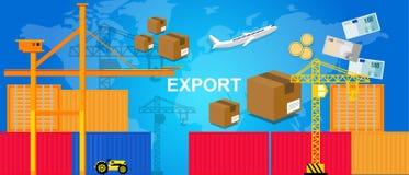 出口贸易运输后勤港口容器飞机和起重机金钱包装箱子世界贸易 皇族释放例证