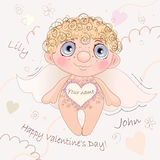 说出名字的Angel Heart,卡片为情人节 图库摄影