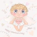 说出名字的Angel Heart,卡片为情人节 库存照片