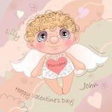 说出名字的Angel Heart,卡片为情人节 免版税库存照片