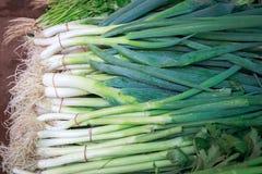 出售的新鲜的葱在乡下的新鲜市场上 免版税库存照片